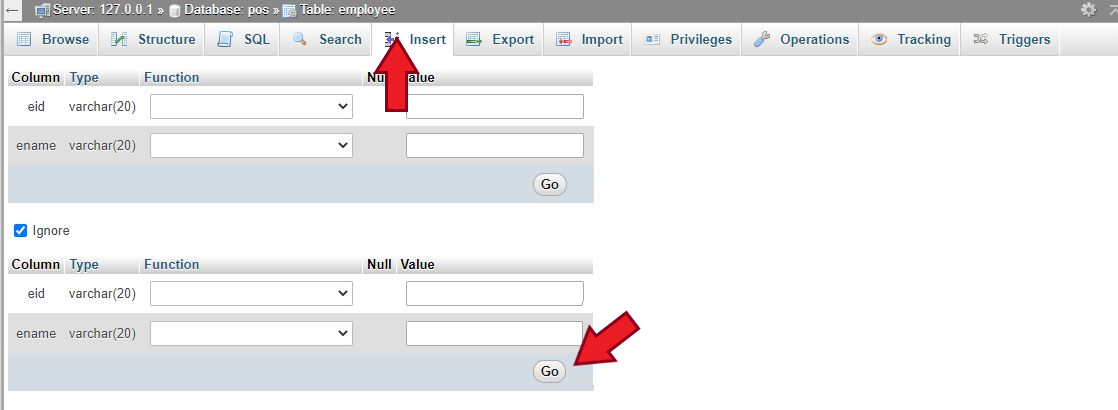 How to insert data to a table in phpMyAdmin